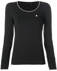 Philipp Plein - Long Sleeve T-shirt With Metallic Detailed Neck - Lyst