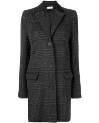 Paco Rabanne - Plaid Single Breasted Coat - Lyst