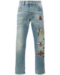 Gucci - Vaqueros tapered con bordado de insectos - Lyst