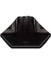 Alexander McQueen - Black Folded Leather Studded Clutch Bag - Lyst