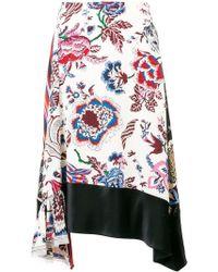 Tory Burch - Asymmetric Floral Skirt - Lyst
