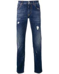 Dolce & Gabbana - Ripped Slim Fit Jeans - Lyst