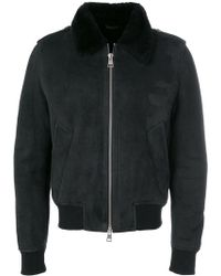 AMI - Shearling Zipped Jacket - Lyst