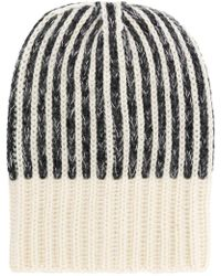 Saint Laurent - Stripe Knit Beanie - Lyst