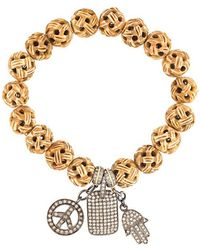 Loree Rodkin - Carved Wood Diamond Charm Bracelet - Lyst