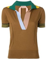 N°21 - Colourblock Knitted Polo Top - Lyst