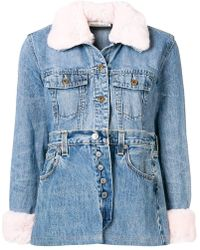 Night Market - Fur Collar Patchwork Jacket - Lyst
