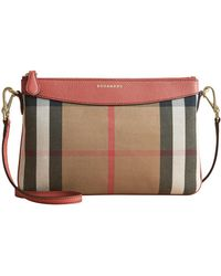 Burberry - House Check And Leather Clutch Bag - Lyst