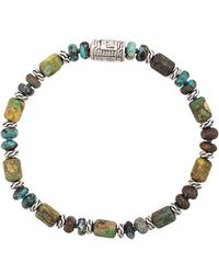John Hardy - Silver Classic Chain Mixed Turquoise Bead Bracelet - Lyst