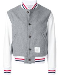 Thom Browne - Button Front Melton Wool Varsity Jacket - Lyst