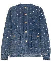 Gucci - Quilted Marble Denim Jacket With Crystals - Lyst