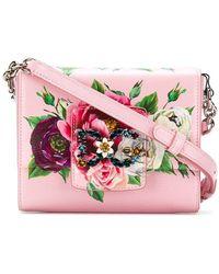 Dolce & Gabbana - Bolso de hombro floral con logo y detalles de strass - Lyst