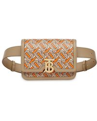 Burberry - Belted Monogram Print Leather Tb Bag - Lyst
