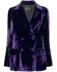 Erika Cavallini Semi Couture - Velvet Double Breasted Blazer - Lyst