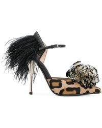 Giambattista Valli - Leopard Print Feather Pumps - Lyst