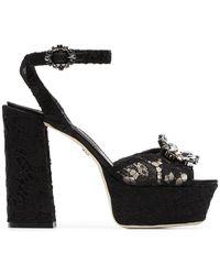 Dolce & Gabbana - Keira 120 Lace Platform Sandals - Lyst
