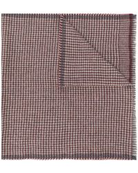 Corneliani - Plaid Logo Fringed Scarf - Lyst