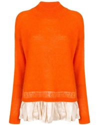 Erika Cavallini Semi Couture - Ruffle Hem Turtleneck Sweater - Lyst