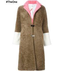 Saks Potts - Contrast-Sleeves Shearling Coat - Lyst