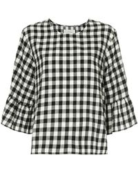 The Great - Sweetie Check Ruffle Blouse - Lyst