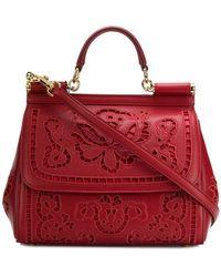 5d3c10554de2 Lyst - Dolce   Gabbana Sicily Medium Floral-print Textured-leather ...