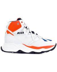 MSGM - Contrast Hi-top Sneakers - Lyst