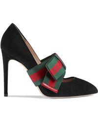 ba5cc67d2f Gucci Leather T-strap Mid-heel Sandal With Web in Brown - Lyst