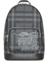 Burberry - Ekd London Check And Leather Backpack - Lyst