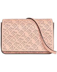 b4c44b135edd Burberry Check Embossed Cross-body Bag in Pink - Lyst