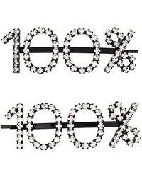 Ashley Williams 100% クリスタル ヘアクリップ - ブラック