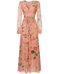 Oscar de la Renta Botanical Print Evening Dress