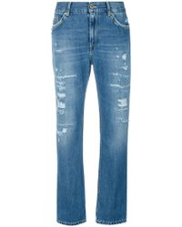 Dondup - Cropped Distressed Jeans - Lyst