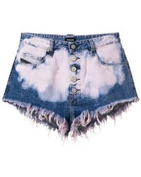 DIESEL - De-ginger Bleached Denim Shorts - Lyst