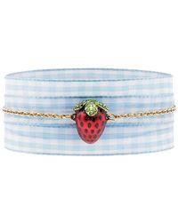 Miu Miu - Gold Gingham Ladybird Pendant Bracelet - Lyst