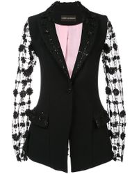 Christian Siriano - Embroidered Sheer Sleeves Blazer - Lyst