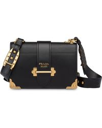 Prada - Cahier Large Leather Bag - Lyst