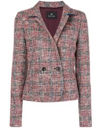 PS by Paul Smith - Double-breasted Tweed Jacket - Lyst