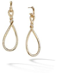 David Yurman - 18kt Yellow Gold Continuance Diamond Twist Drop Earrings - Lyst