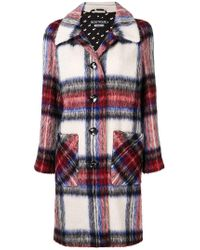 Boutique Moschino - Plaid Single Breasted Coat - Lyst