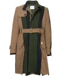 Sacai - Contrast Panel Belted Coat - Lyst