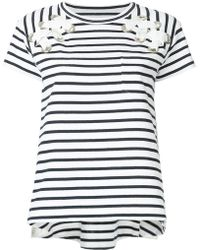 Sacai - Striped Laced Shoulder T-shirt - Lyst
