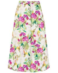 Andrea Marques - Printed Pate Midi Skirt - Lyst