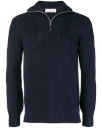 Officine Generale - Zip Neck Ribbed Sweater - Lyst