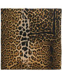 Saint Laurent - Leopard Print Scarf - Lyst