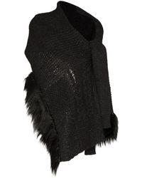 Simone Rocha Grey Faux Fur Trim Wool Blend Wrap Cardigan Scarf