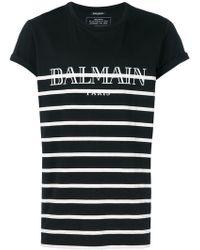 Balmain - Logo Print Striped T-shirt - Lyst