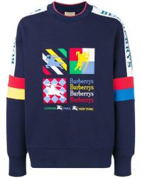 Burberry - Colour Block Embroidered Archive Logo Sweater - Lyst