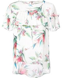 Nicole Miller - Floral Print Frill Top - Lyst