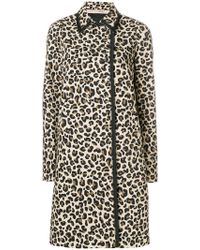 N°21 - Leopard Print Double-breasted Coat - Lyst