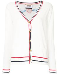 MUVEIL - Embroidered Contrast-trim Cardigan - Lyst